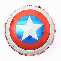 """Шар фольгированный круглый 45 см.""""Щит Капитан Америка""""."""