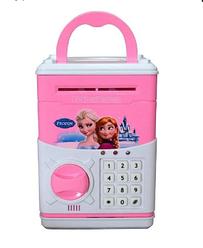 Детская копилка-сейф Cartoon Bank Frozen с кодовым замком Розовая