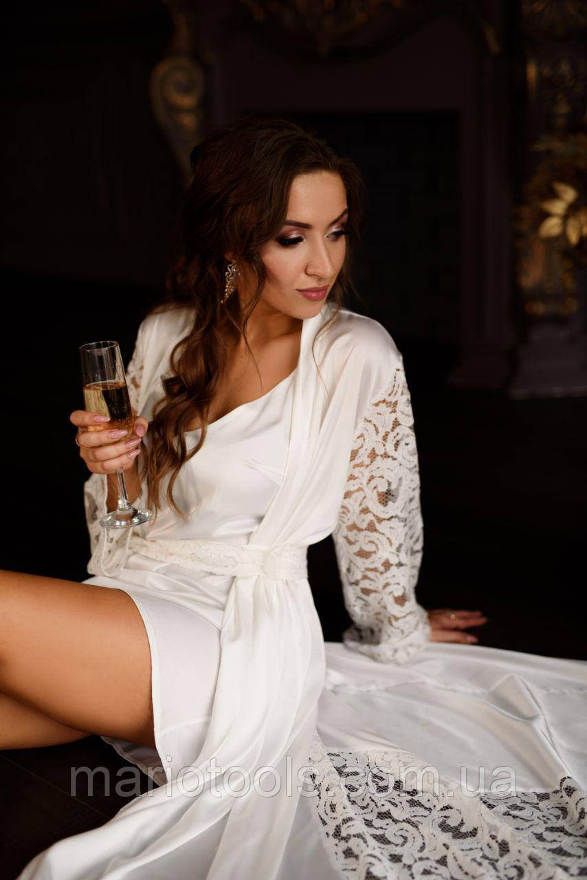 Шелковый комплект в пол (Пеньюар+сорочка) Идеально подойдет на утро невесты!