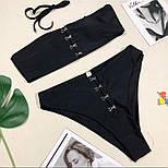 Жіночий чорний купальник роздільний на гачках, фото 5