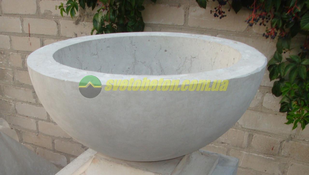 Бетонная чаша для цветов растений или просто садовая поилка купальня (купель) для птиц ф500мм.