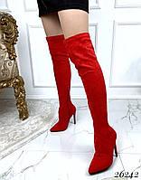 Красные ботфорты классика на каблуке, фото 1
