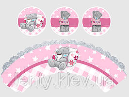 Набор для капкейков: топперы и накладки на корзинки (6шт/уп)- Мишка Тедди (девочка), Украшение для кексов, Розовый