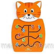 Игрушка настенная,бизиборд, Кот с цифрами,Viga Toys 50676