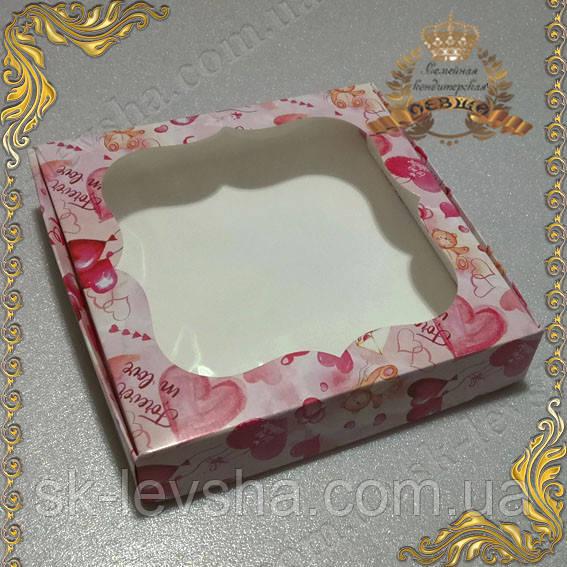 Коробка 150*150*30 для пряников Love с фигурным окном