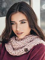 Жіночий стильний рожевий хомут/снуд/шарф Adalin