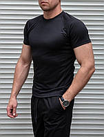 Мужская спортивная стрейчевая футболка черная Сл 1011