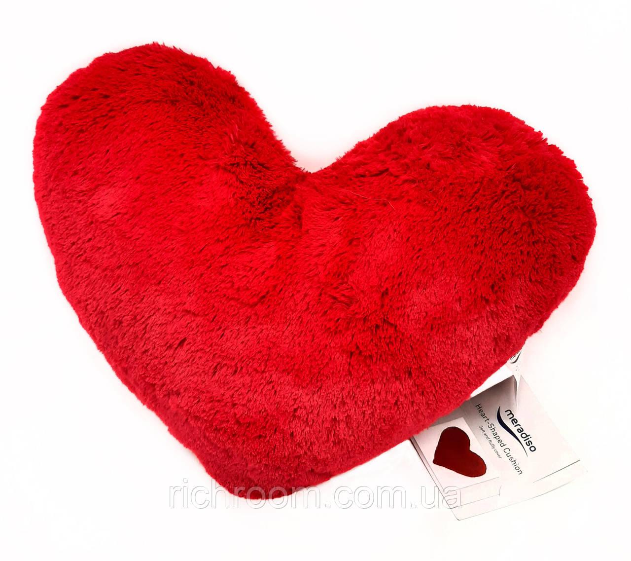 Подушка декоративная пушистая в форме сердца Meradiso, красная