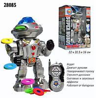 Робот на радиоуправлении 28085, муз, звук(англ), свет, танцует, стреляет дисками, на бат-ке