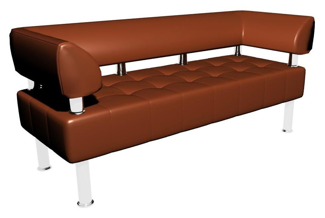 Офісний диванчик Тонус Sentenzo 140х60 см з підлокітниками коричневий кожзам