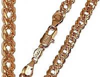 Цепочка, плетение двойной ромб № Т 004. Золото (покрытие) 750 пробы 57 см х 6,5 мм