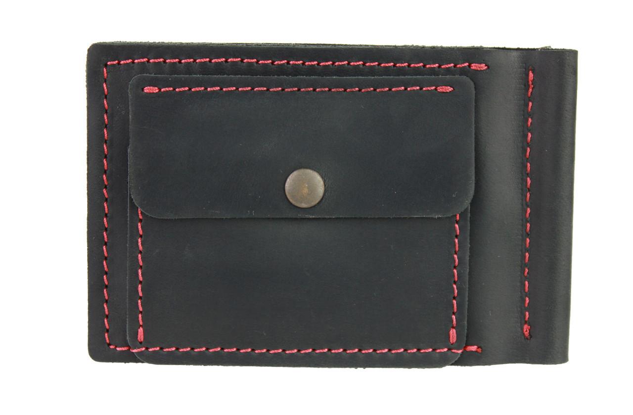 Кошелек мужской кожаный зажим для купюр SULLIVAN kmzdk9(5.5) черный красная нитка