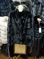 Шуба из норки,трансформер 70 см,цвет чёрный