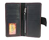 Кошелек мужской кожаный большой SULLIVAN kmk39(9) черный красная нитка, фото 4