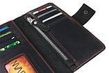 Кошелек мужской кожаный большой SULLIVAN kmk39(9) черный красная нитка, фото 5