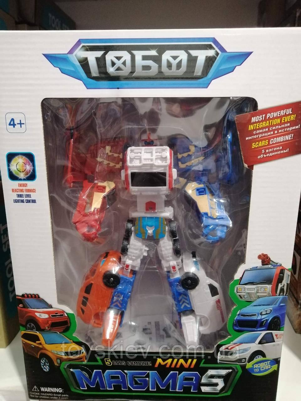 Трансформер Тобот Магма Magma 24 см 5 в 1, пять машин собираются в тобота tobot 339-5