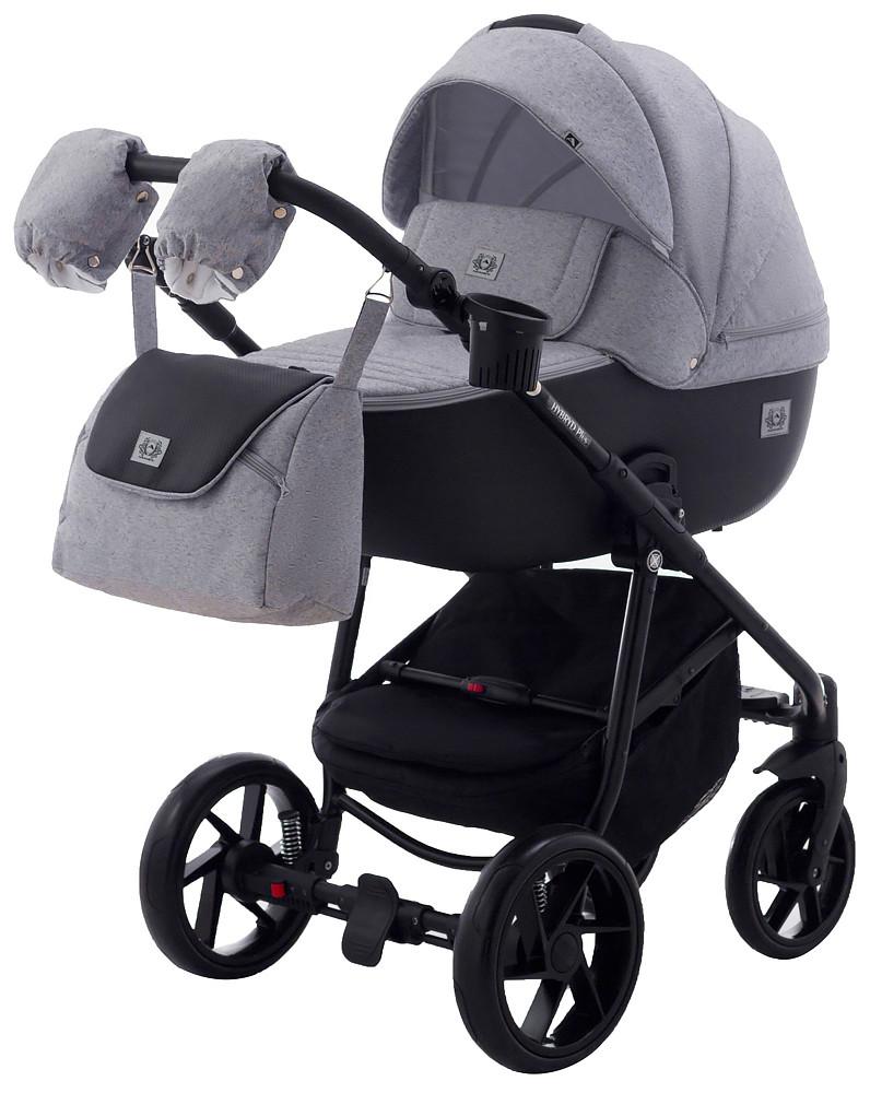 Дитяча коляска 2в1 Adamex Hybryd Plus BR205 Світло сірий з чорним