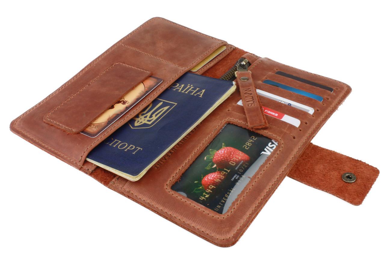 Кошелек мужской кожаный большой travel SULLIVAN kmk11(10) светло-коричневый
