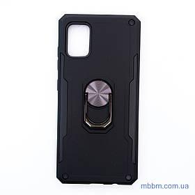 Ударопрочный чехол SG Ring Color под магнитный держатель Samsung A51 Black