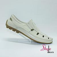 Легкие мужские туфли летние кожаные