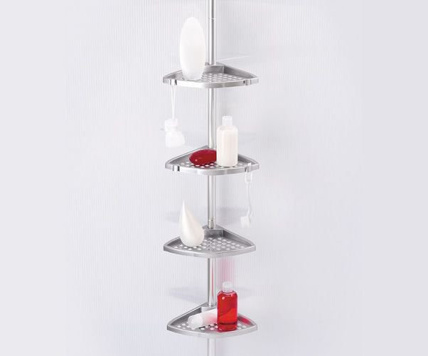 Полочка для ванной четверная угловая Н 15 (алюминиевая труба)