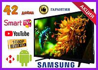 Телевизор Samsung 42 дюйма SMART TV, Full HD, Wi-Fi, с подставкой T2, Самсунг, Смарт ТВ на андроид