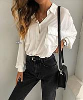 Рубашка женская с карманами белая чёрная, фото 1