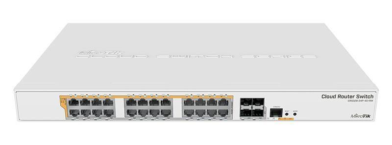 Коммутатор MikroTik CRS328-24P-4S+RM (24x1G PoE+, 4xSFP+, 450W max, L3)