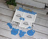 Метрика деревянная фоторамка на 3 фото сыну или дочке на день рождения