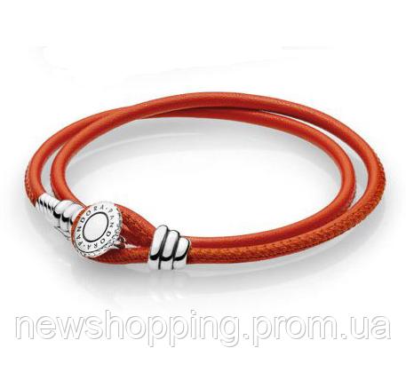 Двойной браслет из кожи и серебра с инкрустацией красный Пандора стиль