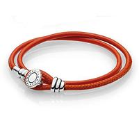 Двойной браслет из кожи и серебра с инкрустацией красный Пандора стиль, фото 1