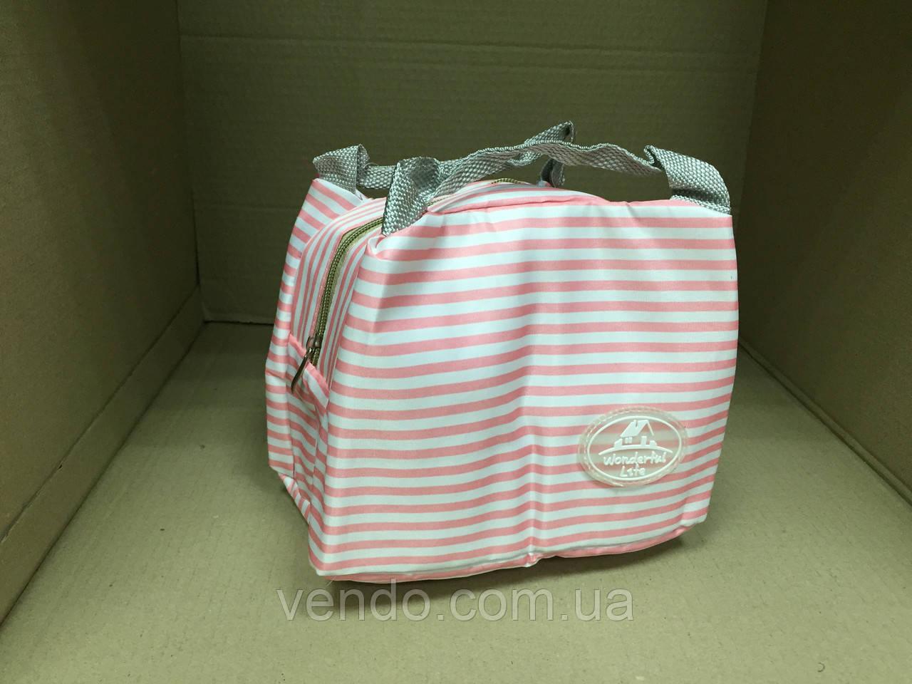 Термосумка Wonderful Life /  белая в розовую полоску