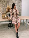 Женское платье с цветочным принтом софт с юбкой солнце верх на запах, фото 3