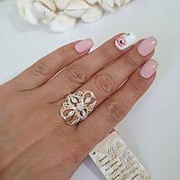 Срібний перстень каблучка із золотими вставками та білими цирконами різного розміру та форми