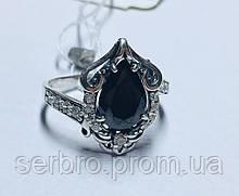 Кольцо в серебре с черным камнем Сабрина