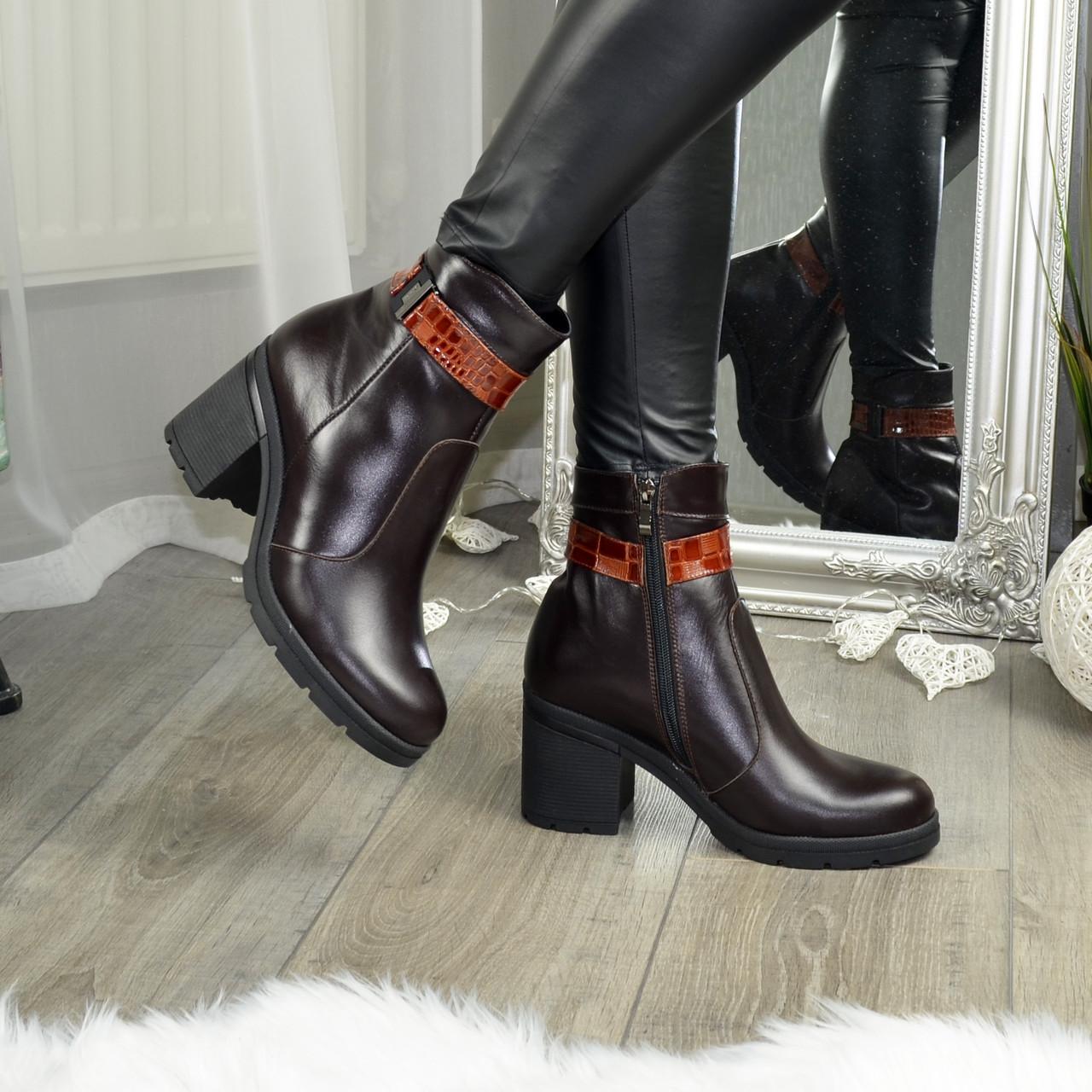 Полуботинки женские кожаные зимние на устойчивом каблуке, цвет коричневый