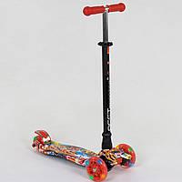 Самокат MAXI для детей 3-6 лет, 4 колеса свет, PU. Детский транспорт. Красный