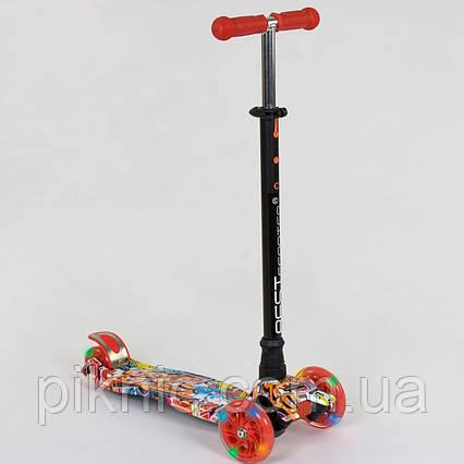 Прочный самокат MAXI для детей 3-6 лет, 4 колеса свет, PU. Детский транспорт. Красный, фото 2