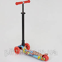 Самокат MAXI для детей 3-6 лет, 4 колеса свет, PU. Детский транспорт. Красный, фото 2