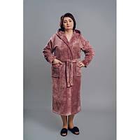 Халат махровый женский Турция, на запах, длинный р. 2ХЛ (50-52) , 3ХЛ( 52-54)  персик, фрез
