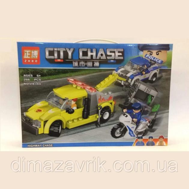 """Конструктор ZHBO ZB340 (Аналог Lego City) """"Стремительная погоня""""266 деталей"""