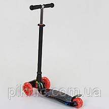 Самокат MAXI для детей 3-6 лет, 4 колеса свет, PU. Детский транспорт. Черный, фото 2