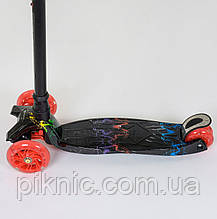 Самокат MAXI для детей 3-6 лет, 4 колеса свет, PU. Детский транспорт. Черный, фото 3