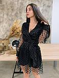 Женское платье чёрное в горошек с сеткой, фото 3