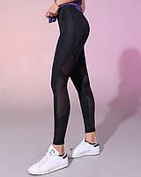 Женские спортивные черные лосины для йоги,танцев и фитнеса ,с сеточкой сзади.