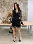 Женское платье чёрное в горошек с сеткой, фото 2