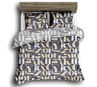 Сатиновое двуспальное постельное белье 180х220 (13592) хлопок 100% KRISPOL Украина
