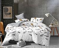 Сатиновое двуспальное постельное белье 180х220 (13593) хлопок 100% KRISPOL Украина