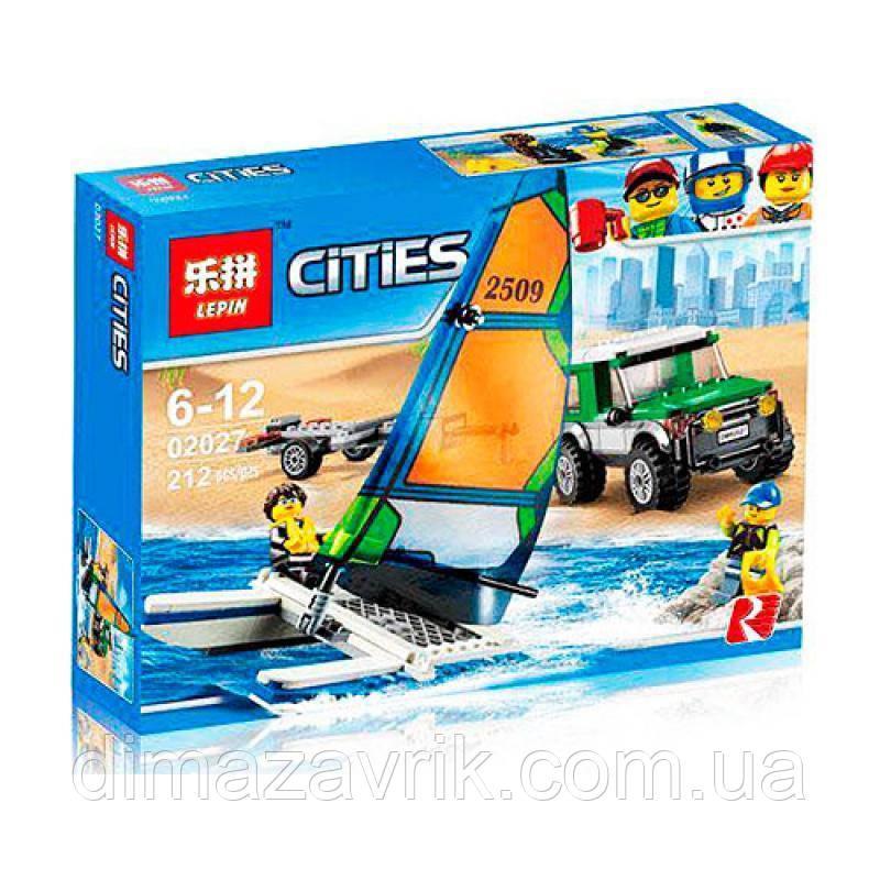 """Конструктор Lepin 02027 (Аналог Lego City 60149) """"Внедорожник с прицепом для катамарана""""212 деталей"""