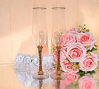 Набор свадебных бокалов со стразами